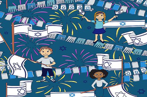 ילדים מצוירים מחזיקים דגלים